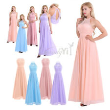 Women Hot Halter Chiffon Gown Prom Bridesmaid Wedding Dress Evening Formal Party