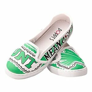 New Womens Poppy's Collegiate University of North Texas Shoes UNT-1 Green W9