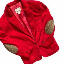 Vintage 70's Rouge Velours Blazer Taille M Coude Patchs Geek Professeur Mod