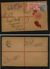 New South Wales uprated registered postal envelope to India  1908      MS0910