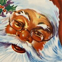 Vintage Mid Century Christmas Greeting Card Smiling Santa Claus With Big Beard