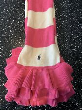 POLO RALPH LAUREN GIRLS CABLE KNIT SCARF ONE SIZE ( 2T-4T) IN PINK AND WHITE