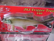 """River2Sea JSJ Trigger Trout 7.5"""" - 3oz Rigged Weedless Swimbait #07 GREEN SHAD"""