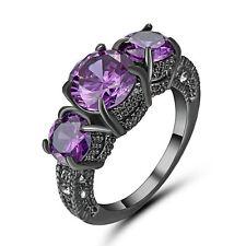 Size 8 Purple Amethyst Engagement Gift Ring Wedding Band Black Rhodium Plated