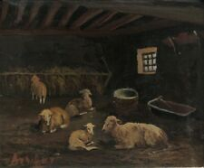 Vintage FrenchOilPainting Farm Stable Sheep, Signed Roland Arribas (1922-1986)
