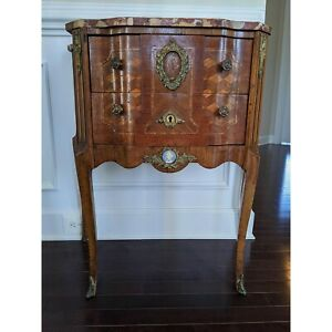 Antique French Louis XVI Marble Top Marquetry Commode Excellent Condition