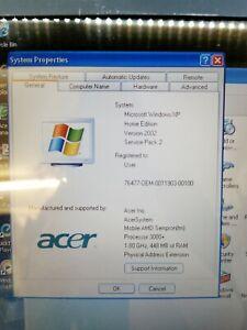 Acer Aspire 3003 WLMI 3000 Series ZL5 Windows XP, AMD Sempron @ 1.8GHz 450MB RAM