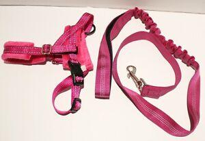 SlowTon Reflective Padded Plush No Pull Dog Harness w/Bungee Leash - Pink XS