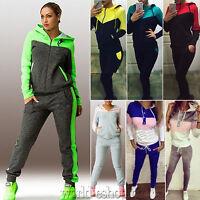 Womens 2Pcs Tracksuit Hoodie Hooded Sweatshirt Pants Sets Sport Wear Sweat Suit