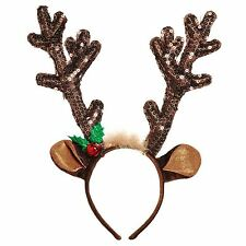 Reindeer Brown Sequined Antler Headband Ears Holly Bell Christmas Xmas Party New