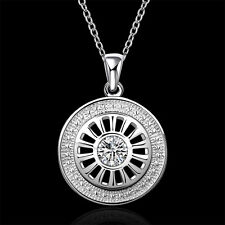 "Sterling Silver Zircon Round Car Wheel Men Women Pendant Necklace 18"" NY692"