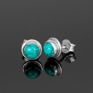 Beautiful 925 Sterling Silver Turquoise Round Earrings Studs Gemstone Gift Boxed
