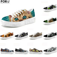 Cute Cat Ladies Casual Platform Creepers Punk Shoes Women Flats Sport Trainers