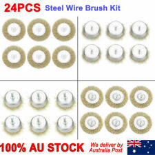 24pcs High Quality Steel Wire Brush Cup & Flat Brushes Drill Wheel Tools Set