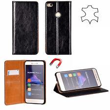 ^ Huawei P Smart Echt Leder Book Flip Case Handy Tasche  Schutzhülle SCHWARZ