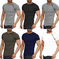 Men Short Zip Sleeve Raglan T-shirt Summer Casual Slim Fit Muscle Blouse Top Tee