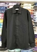 S M L XL 2XL 3XL 4XL Black Dress Shirt Mens Button Regular Fit Long Sleeve Solid