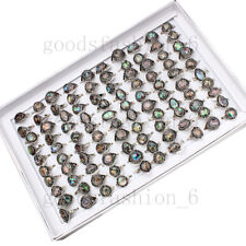 Natural Abalone Shell Rings 50pcs/lot Wholesale Women's Rings Mixed Size