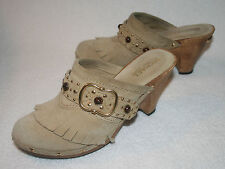 Womens Michael Kors Somerset Tan Suede Fringe Gold Studs Clogs Wedges Shoes 6