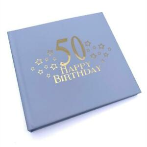 50th Birthday Blue Photo Album Gift With Gold Script