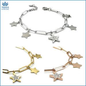 Bracciale da donna con stelle acciaio stelline maglia lunga catena braccialetto