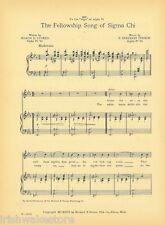 "SIGMA CHI Fraternity Vintage Song Sheet c1921 ""Fellowship Song"" -- Original"