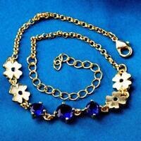 Da Polso Fiori Blu Scuro Donna 19 cm lungo più 5 cm con Oro Giallo 18k Gf