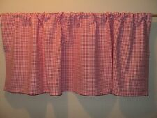 Pottery Barn Kids Bright Hot Pink Gingham 50 x 18 Rod Pocket Window Valance Euc