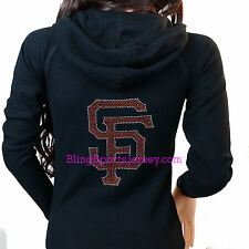 San Francisco SF Giants Jersey Bling Rhinestone Zipper Hoodie Sweater