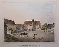 Lithografie Hermsdorf Doebeln Poenicke Schlösser & Rittergüter um 1855 Sachsen