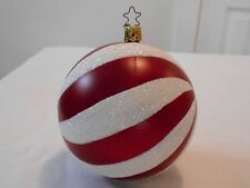 Vintage German Hand Blown Mercury Glass Round Red White Ball Christmas Ornament