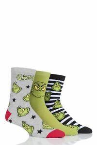 Mens and Ladies SockShop 3 Pair Grinch Cotton Socks