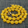 6/8/10mm Natural Faceted Yellow Jade Round Gemstone Beads Necklace 18'' AAA+