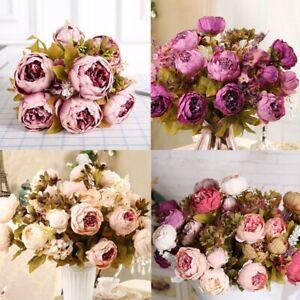 13 Heads Silk Peony Artificial Flowers Peony Wedding Bouquet Home Decoration