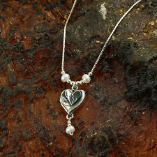 Pearls Heart Pendant 925 Sterling Silver Necklace Bridal Wedding Jewelry Y298