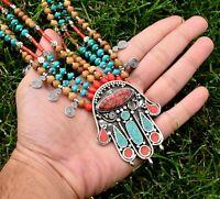 Nepal Tibetan Silver Hamsa Hand Necklace Coral Turquoise Beaded Ethnic Jewelry