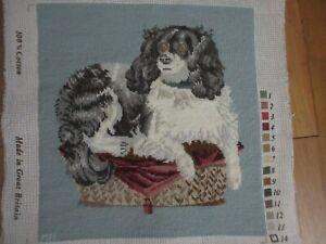 Elizabeth Bradley KING CHARLES SPANIEL Needlepoint BLUE Stitching Completed DOG