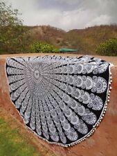 "Peacock Mandala Black And White Round Tapestry Hippie Dorm Throw Decor Home 72"""