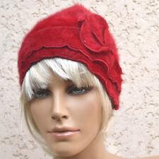Bonnet chapeau rétro Femme fourrure Angora rouge T 54 56 57 Ginger ZAZA2CATS