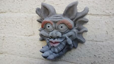 Blow a Kiss Gargoyle Wall Hanging - Hand Cast Stone Garden Ornament
