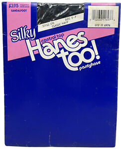Hanes Too Silky Control Top Pantyhose Classic Navy Size EF Style 170 Vintage NIP