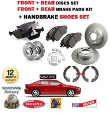 FOR VOLVO S60 2000-2008 FRONT + REAR BRAKE DISCS + PADS SET + HAND SHOES KIT