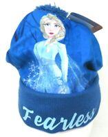 Disney Frozen 2 Elsa Princess Girls Beanie Winter Hat Blue Pom Fearless One Size