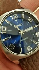 (FREE NECK CHAIN)NEW SEIKO RECRAFT SERIES AUTOMATIC 21 JEWEL.BLUES DIAL.LEATHER.
