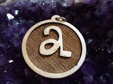 """A"" LETTER INITIAL ALPHABET 1.5"" PENDANT NECKLACE MAPLE WOOD BIRTHDAY BEST GIFT"