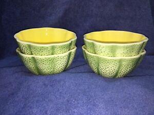 """Vintage Pier 1 Melon Bowls Cereal Soup 5.75"""" Diameter-Set Of 4, Japan EUC"""