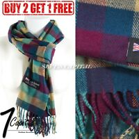New Womens Winter Warm 100% Cashmere Plaid Soft Scarf Scotland Made Wool Scarves