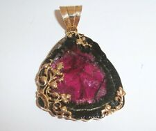 Watermelon Genuine Tourmaline Slice 14k Solid Yellow Gold Handcrafted  PENDANT.
