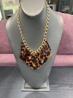 "Vtg Bib Statement Necklace Lucite Leopard Dangle  Charm  Gold Tone 18"""