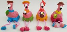 Ceramic Flamingo Figurines with Dangly Legs, Select Skirt Color